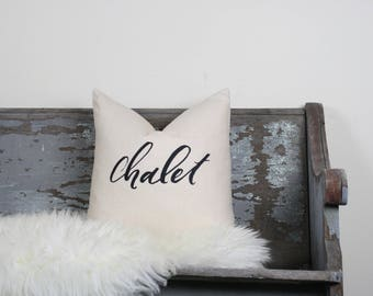 "18""x18"" Natural Colored Linen with Black Ink ""Chalet"" Pillow Cover"