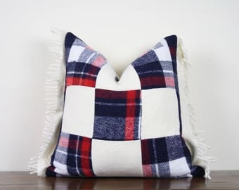 "20""x20"" Red and Blue Plaid and Cream Patchwork Vintage Wool Pillow Cover with Fringe Detail 