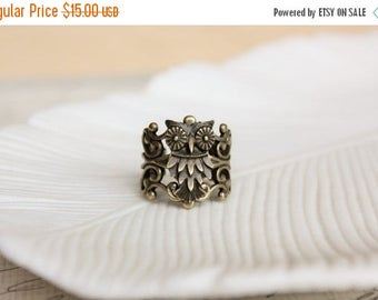 VACATION SALE- Owl Ring. Filigree Statement Ring. Rustic Woodland Owl Ring. Adjustable.
