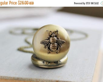 VACATION SALE- Bee Pocket Watch Necklace in Antique Brass. Gift for her under 30 usd.