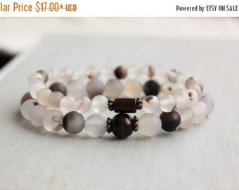 VACATION SALE- Natural Agate Beaded Stretch Bracelets. Gemstone Jewelry.