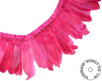 """Feather Trim - Goose Feather Satinette Fringe Trims - Raspberry Pink - 5""""-7"""" (1 yard)"""