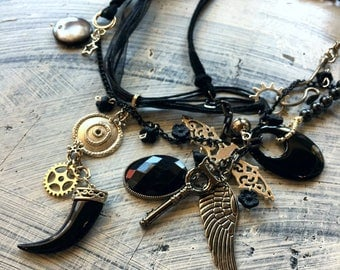 Gothic Steampunk Black Charm Necklaces