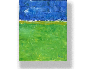 """Abstract Painting. """"Blue  White, Green"""""""