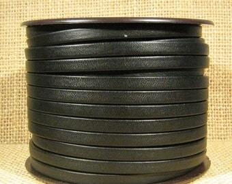 5mm Regaliz Premier Flat Leather - Black - P5-1 - Choose Your Length
