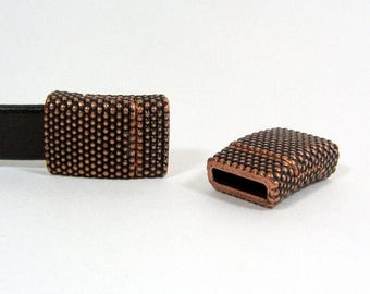 Small Dots Magnetic 10mm Flat Leather Clasps - Antique Copper - 10F-CL23 - Choose Your Quantity