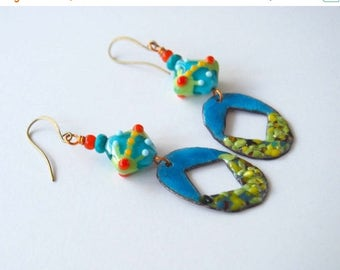 SALE Colorful Enameled Earrings, Modern Earrings, Boho Chic Earrings, Lampwork Glass Bead Earrings, Blue Earrings, Long Earrings