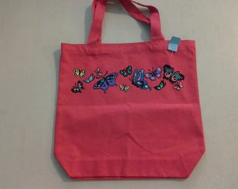 Dark Pink Canvas Bag with Butterflies 230547
