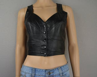 80s Genuine Leather Crop Top Black Tank Smocked Back Biker Crop Top Festival Clothing Boho 80s Clothing Epsteam