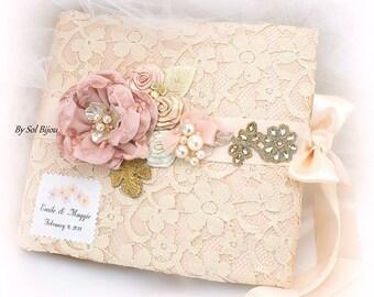 Wedding Photo Album,Personalized,Blush,Champagne,Rose,Gold,Blush Photo Album,Bridal Shower,Gift, Birthday,Anniversary,Lace Photo Album
