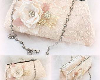 Blush Purse,Ivory,Rose,Lace Purse,Pearl Strap,Wedding Purse,Purse,Handbag,Mother of the Bride,Maid of Honor,Vintage Style,Elegant Wedding