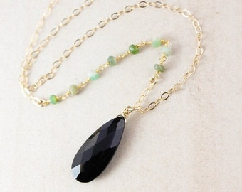 ON SALE Black Spinel & Green Chrysoprase Necklace - Layering Necklace