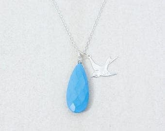 ON SALE Silver Blue Turquoise Necklace with Flying Swallow - Charm Necklace