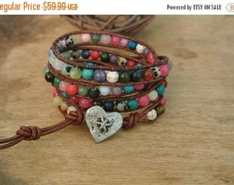 50% OFF SALE Fiesta Heart Gemstone Beaded Leather Wrap Bracelet