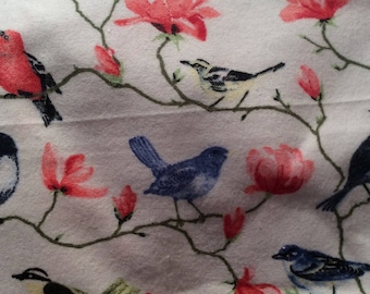 Flannel Pillowcase Set for Standard Size Bed Pillows Birds