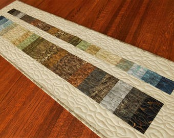 Modern Rustic Wall Decor, Quilted Wall Hanging or Table Runner, Natural Home Decor, Man Cave Art, Nature Inspired Textile, Brown Blue Green