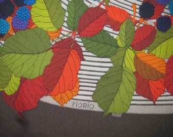 Vintage Fiorio Square Silk Scarf - Dark Brown with Colourful Fruit, Leaf Pattern; Large Size, Soft Silk