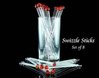Glass Swizzle Sticks ~ Red ~ Stir Sticks ~ Handmade ~ Blown Glass ~ Glass Cocktail Stirrers ~ Boro ~ Lampwork ~ Set of 8 ~ J Hills Glass Art