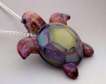Turtle Blown Glass Sea Turtle Pendant, Borosilicate, Trippy Glass Pendant, Lampwork Focal Bead, Choice of Necklace Free(T7257C)