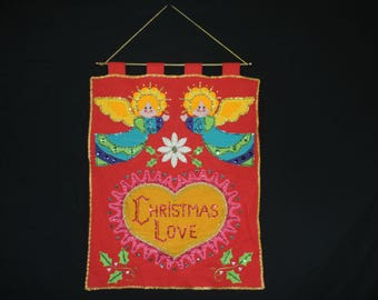 Christmas Love banner felt decoration vintage 60s angel love sequin wall hanging