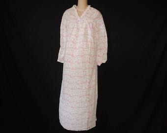 pink floral fleece nightgown 70s pink winter nightie medium large sleepwear new old stock
