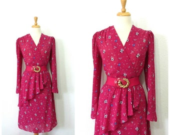 80s vintage dress, Plum Flower print Wrap dress Charlee Allison for Eljay Knee Length Party dress Size 13/14