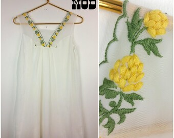 Pretty Vintage 60s 70s White Babydoll Nightgown with Yellow and Green Floral Embroidery