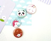 Petit Badge 25 mm 'collection kawaii' au choix : ours/licorne/panda/nuage arc-en-ciel - rainbow