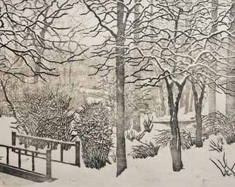 Woodblock Print Snow Day - AWARD WINNER Limited Edition Reduction Print Hand Pulled moku hanga landscape