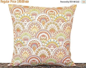 Christmas in July Sale Sale 10.00 Art Deco Pillow Cover Cushion Geometric Fans Orange Lime Green Mustard Red Blue Decorative Repurposed 18x1