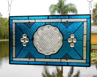 Stained Glass Panel, Depression Glass Window Transom w/ American Brilliant EAPG Plate, Vintage Stained Glass Window, Antique Window Valance