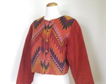 Spring SALE Vintage 70s Ethnic Huipil crop coat / chevron woven embroidered / Guatemalan /  Boho jacket