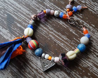 Boho Blue and Purple Bracelet - Primitive - Rustic Beaded Bracelet - Recycled Glass Beads - Bead Soup Jewelry