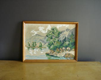 Mountain Lake - Vintage Paint by Number - Landscape Painting - PBN - Paint-by-Number