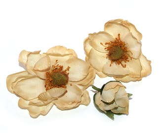 3 Beige Magnolias - Bud to Bloom - Artificial Flowers, Silk Flowers