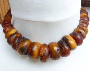 HUGE Antique Natural Genuine Butterscotch Baltic Amber Necklace, 102 g, 古董琥珀正品, Morocco