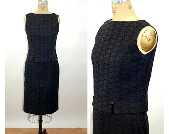 1960s dress top skirt black eyelet slim skirt cropped top back button cotton Size M