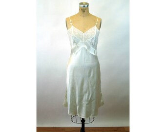 1940s satin slip white bias cut slinky rayon embroidered 30s lingerie bridal size S/M