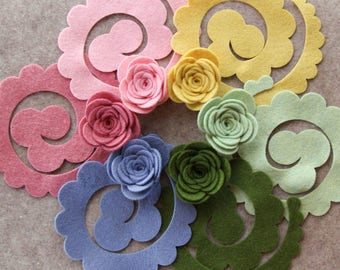 Wool Garden - Large 3D Rolled Roses - 12 Die Cut Wool Blend Felt Flowers - Unassembled Rosettes