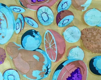 Martha Negley OOP, rare, MN 09, Fruit fabric, cheddar yellow, by the half yard, yardage available