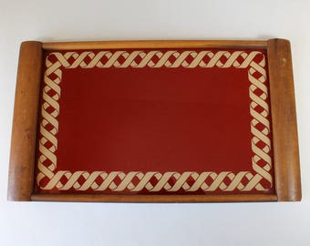 Vintage Wood & Glass Serving Tray With Handles Geometric Braided Pattern Red Beige 1940s 1950s