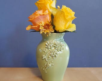 medium vase with mums in Spring Pea glaze