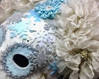 Winter Queen Mask - Mardi Gras, Carnival, New Years Eve, Wedding, Christmas, Solstice, Snow Queen Mask