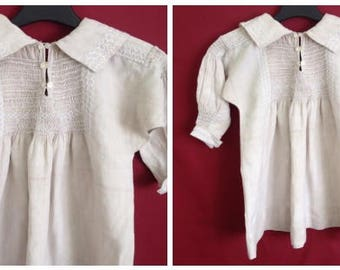Child's Linen Rural Antique Smock mid 1800s - Smocking and Feather Stitch - English Provincial Clothing