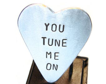 Heart Guitar Pick with You Tune Me On Handmade in Aluminum  - GP403