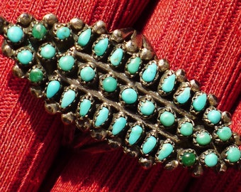 Long Zuni Triple Shank Sterling Silver Petit Point Turquoise Cluster Ring