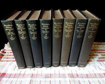Dark Books for Decor - Book Set Eight Books - Vintage Instant Library - Dark Green Gray Book Stack