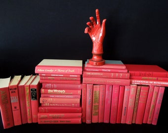 Shades Red Custom Book By the Foot - Vintage Books for Decor - Books by Color - Choose How Many Feet - Home Staging - Berry to Fire Engine