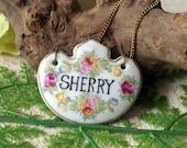 Vintage Porcelain Decanter Tag - German Porcelain Liquor Label Sherry