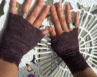 Cuffs - Burning Man - Lace Cuffs - Fingerless Gloves - Gypsy Boho - Clothing Accessory - Tribal - Dark Purple Lace - Sexy Gloves - One Size